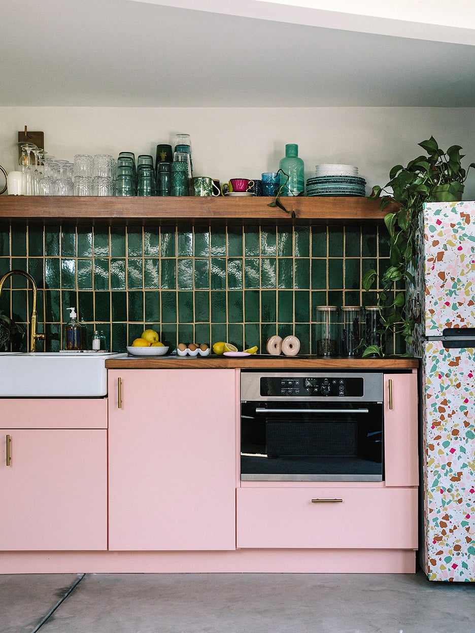pink lower cabinets