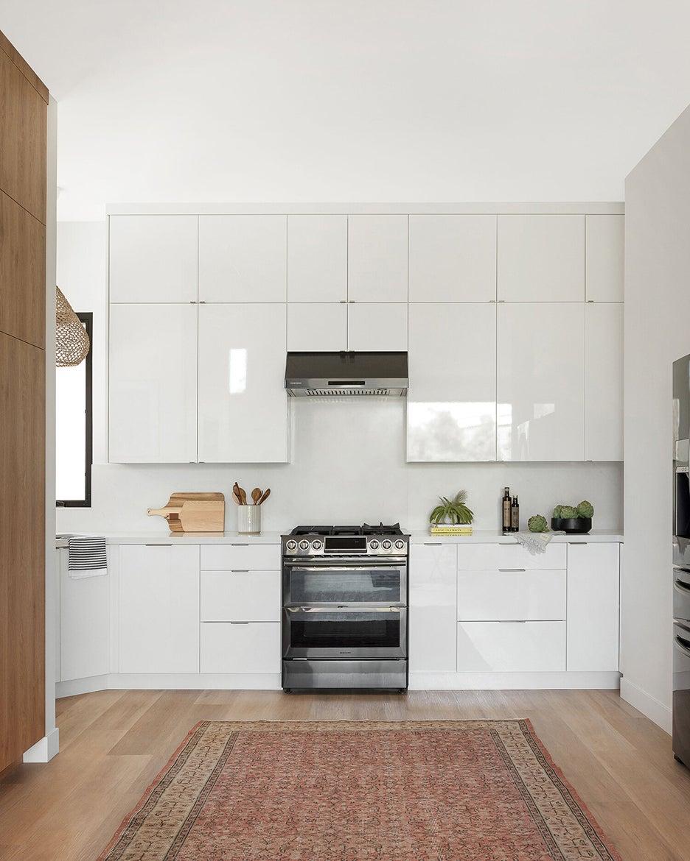 shiny white kitchen