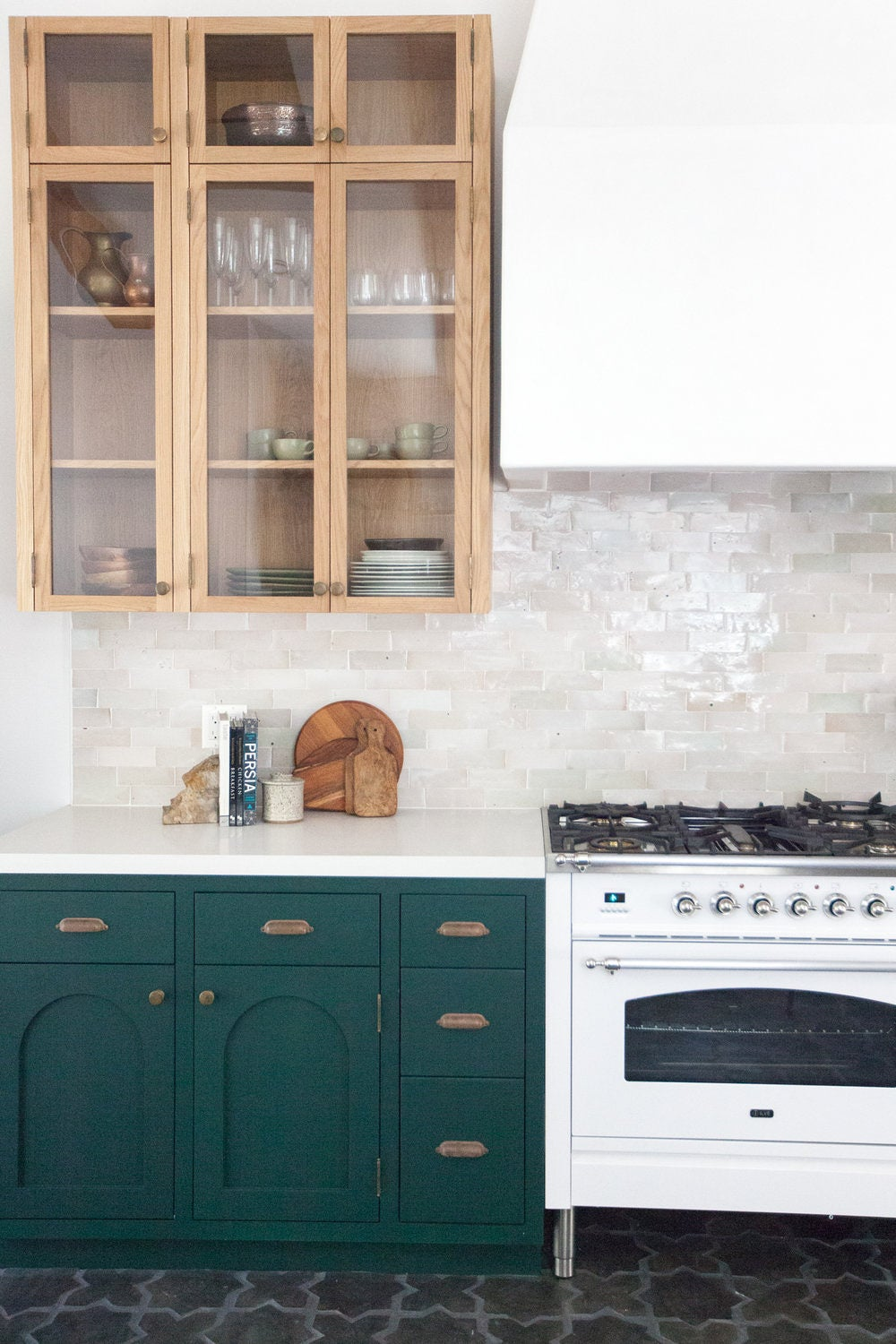 rustic green and white kitchen
