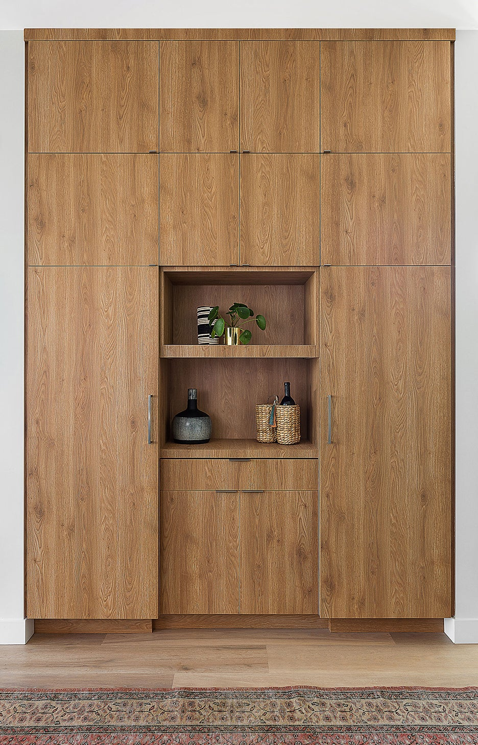 wall of wood cabinets