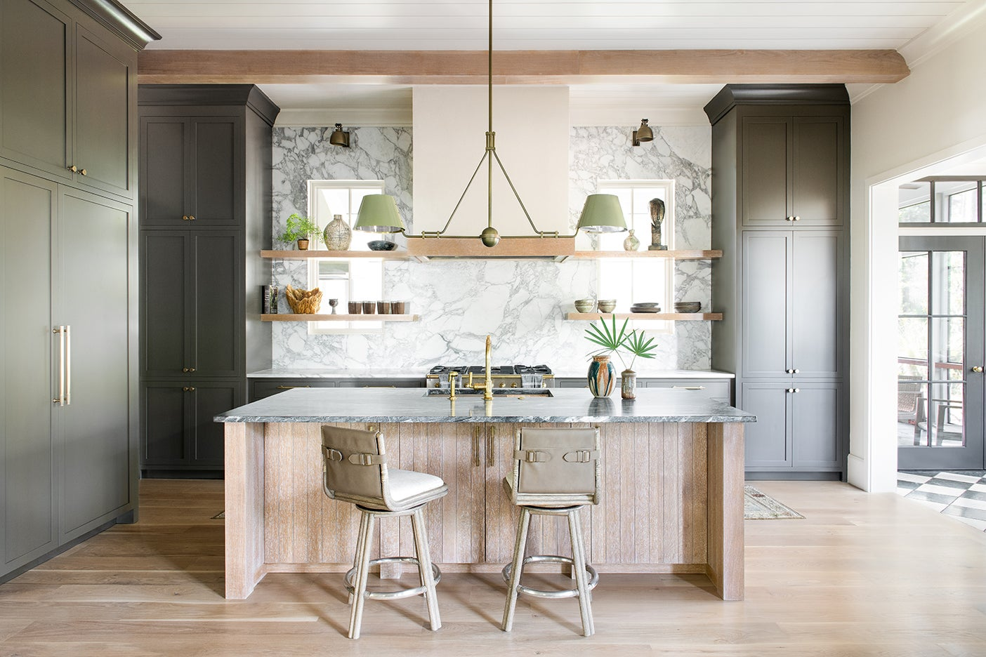large wood and green kitchen