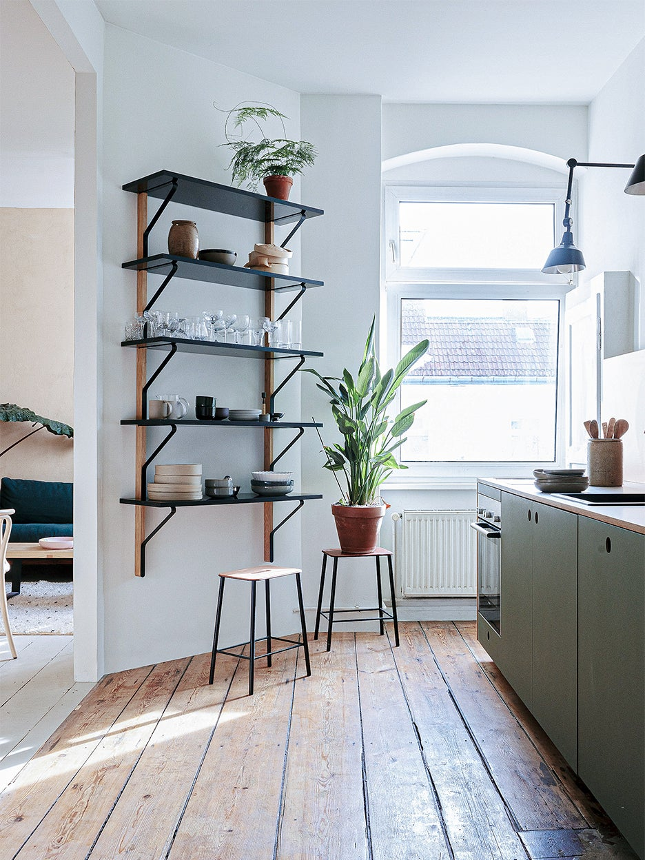 industrial kitchen with wood floors