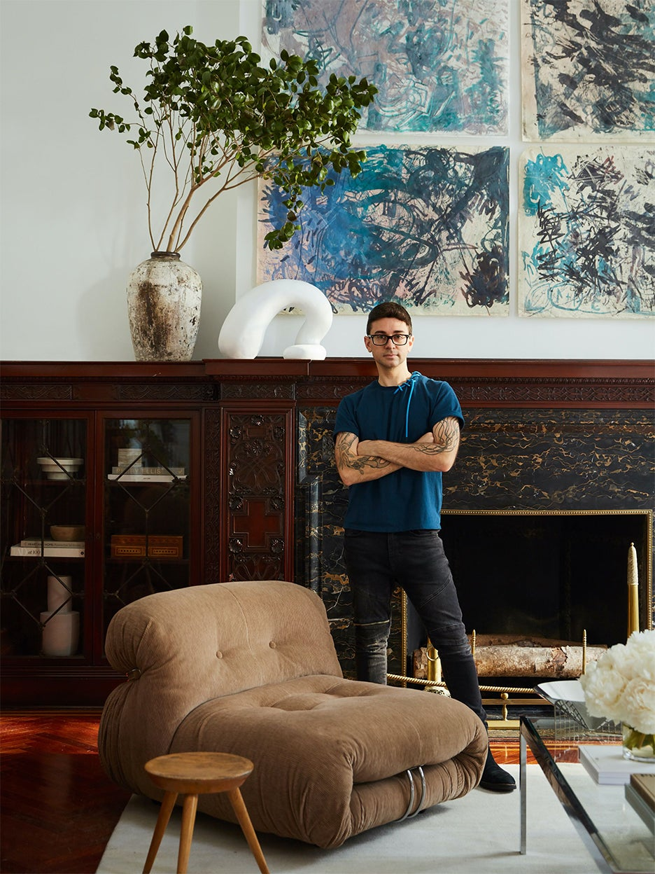 Christian Siriano in a living room