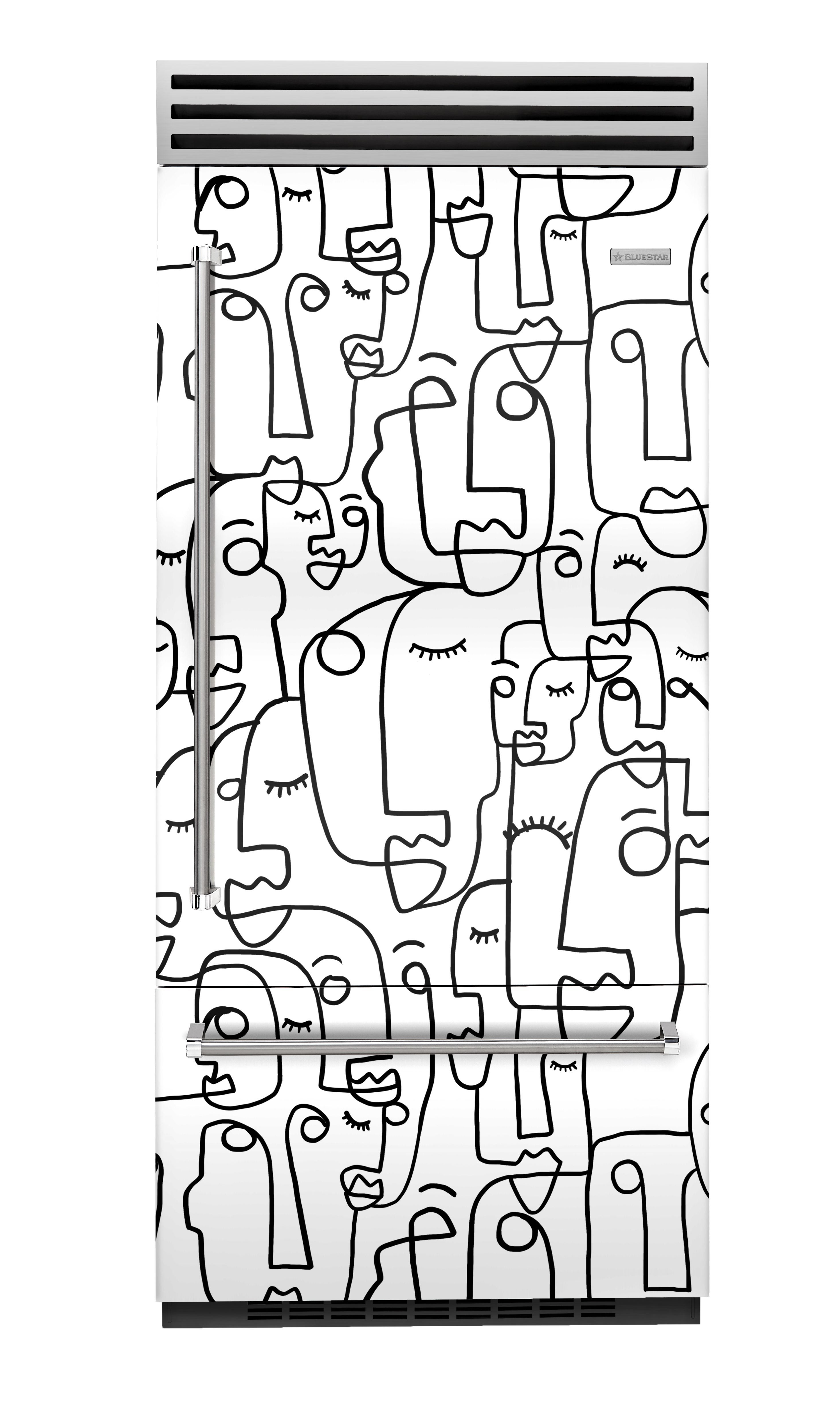fridge covered in faces