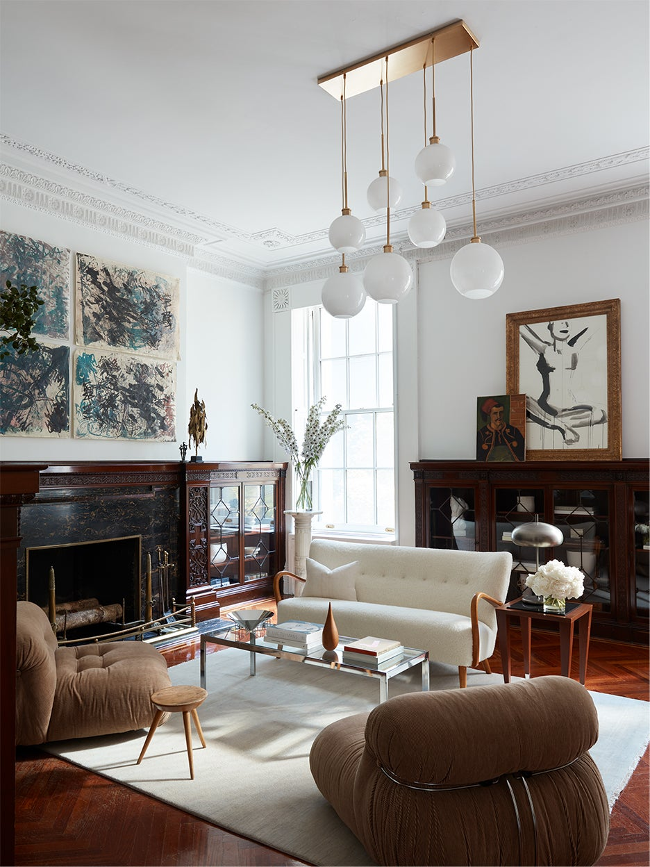 a brownstone seating area