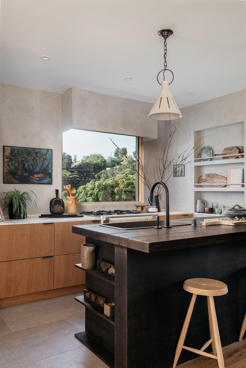 dark brown wood kitchen island