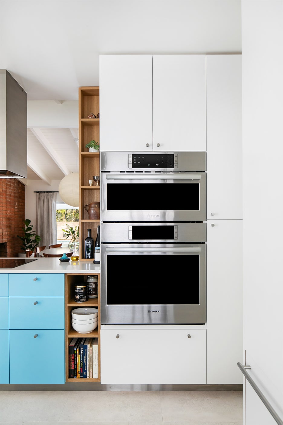 blue and white modern flat cabinets