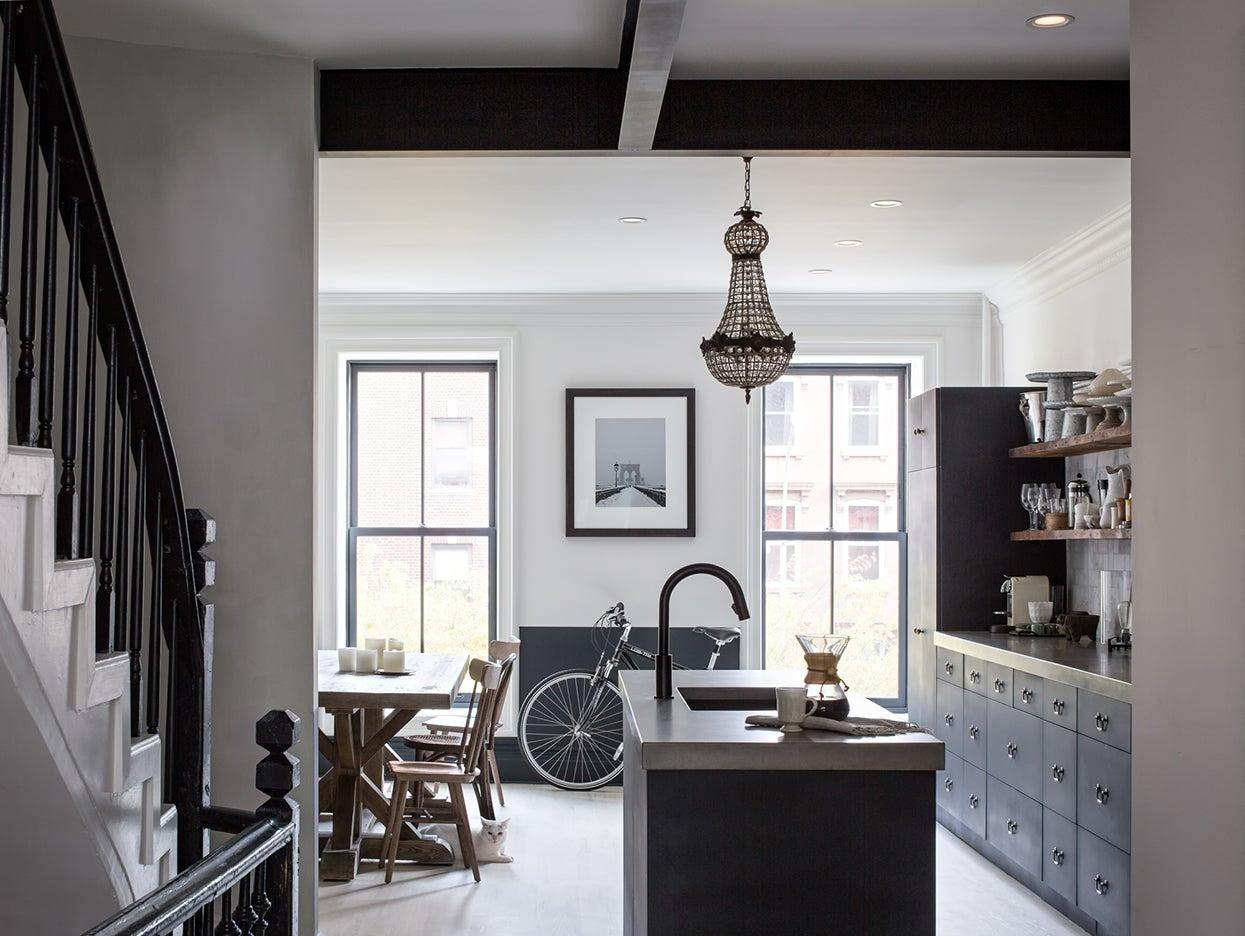 industrial kitchen in a brownstone