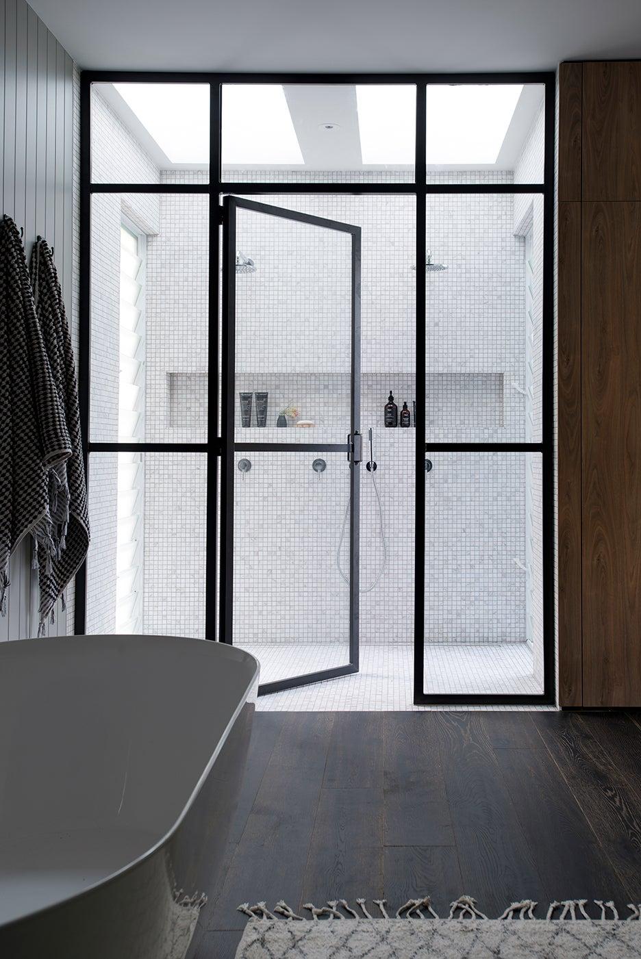 steel glass shower door