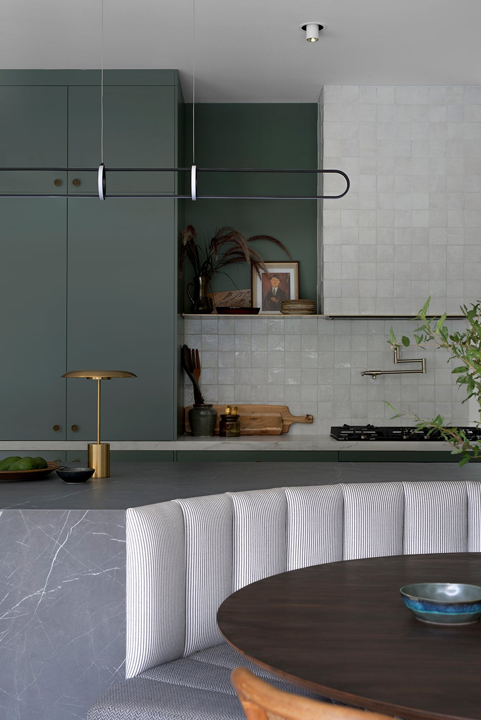 curved kitchen banquette seat