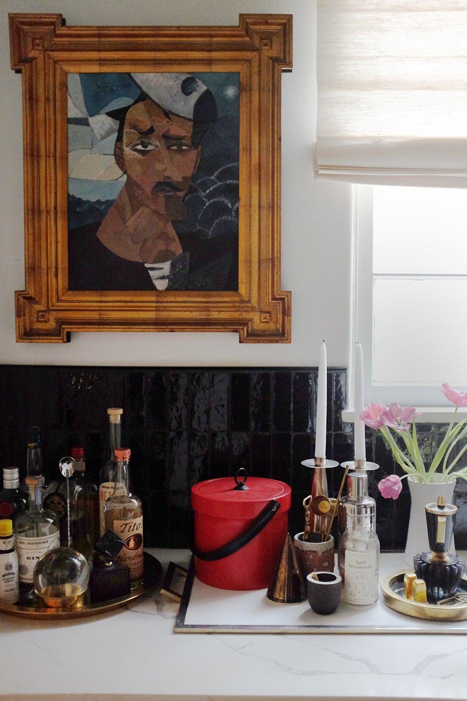 abstract portrait over backspalsh