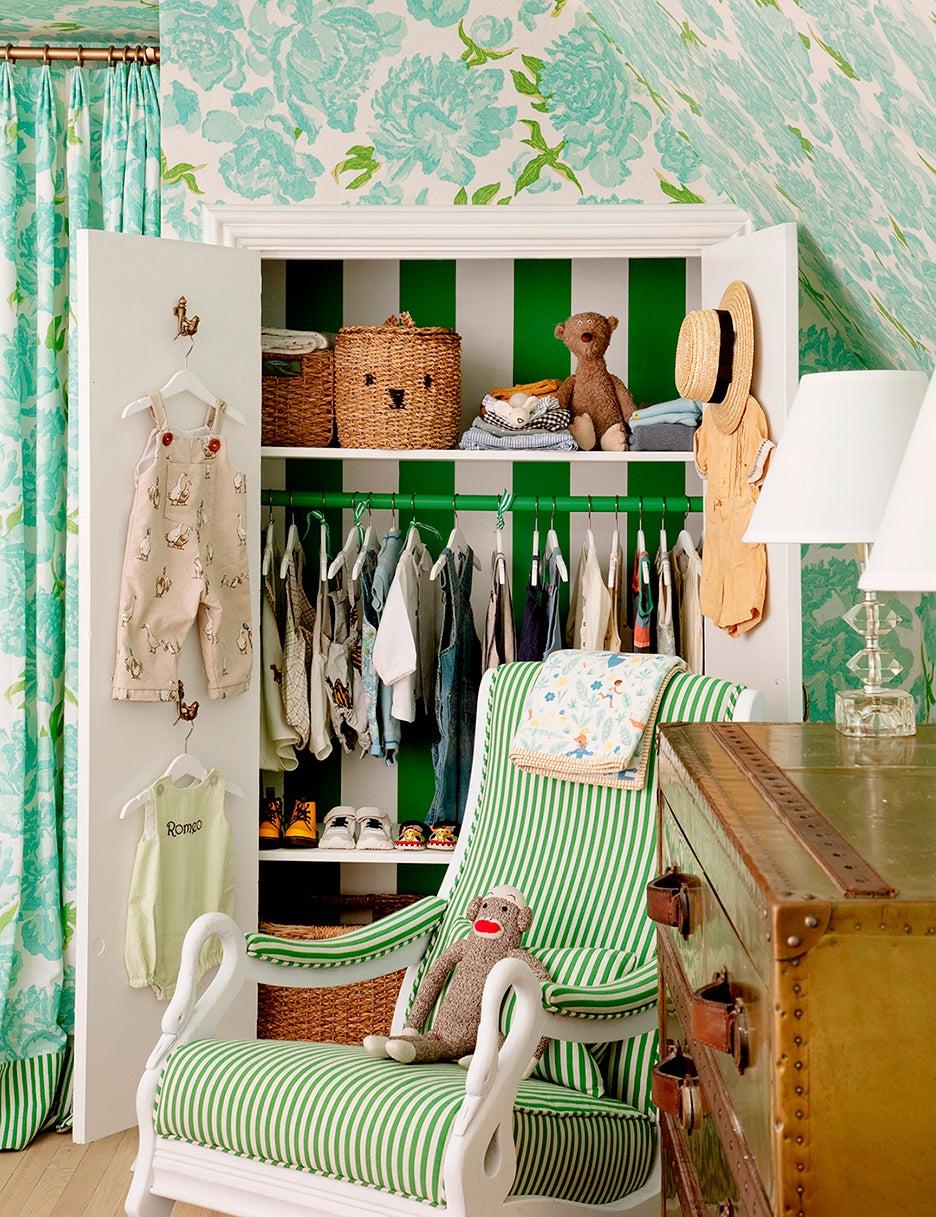 striped green closet