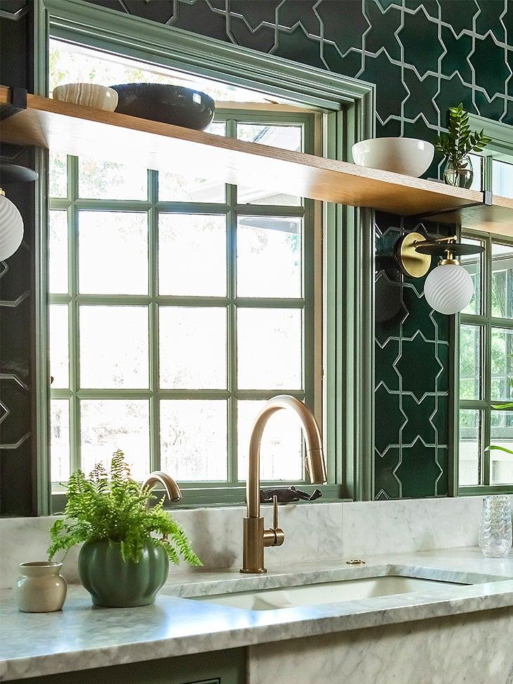 shelf across open kitchen window