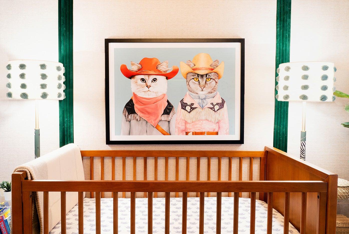 Nursery with rodeo-themed animal art