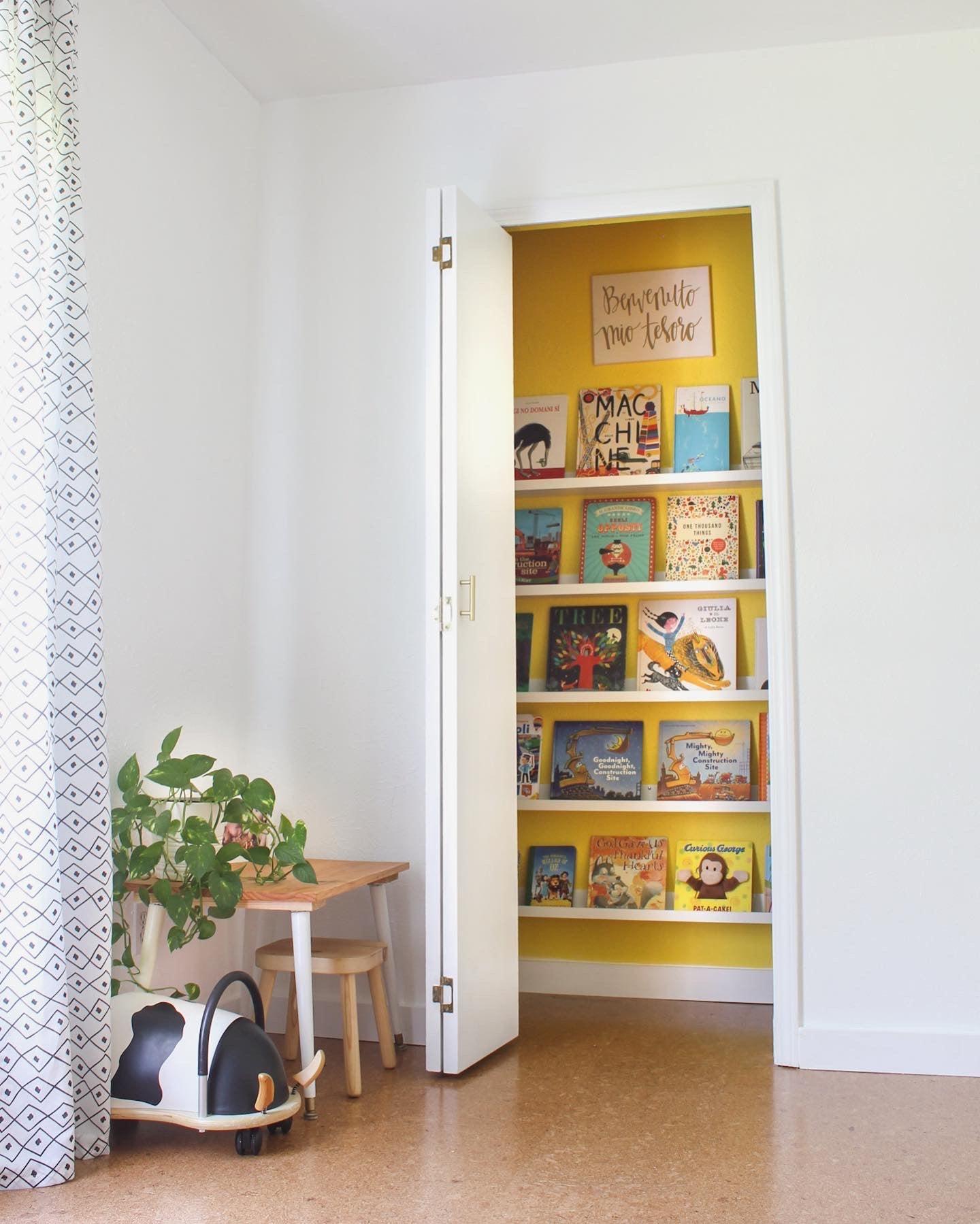 bright yellow book niche