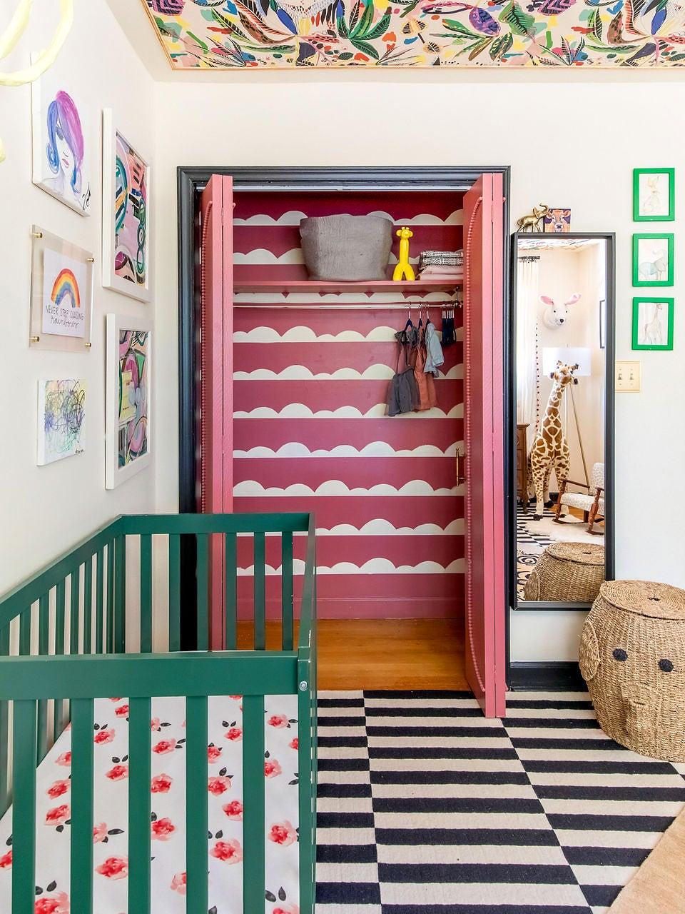 pink closet with cloud design