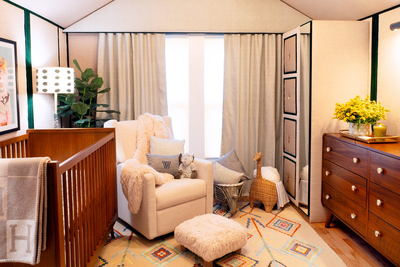 Nursery with fabric-lined walls