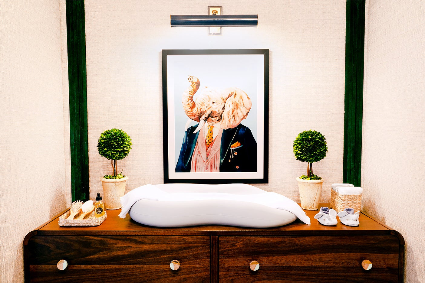Changing table with elephant art