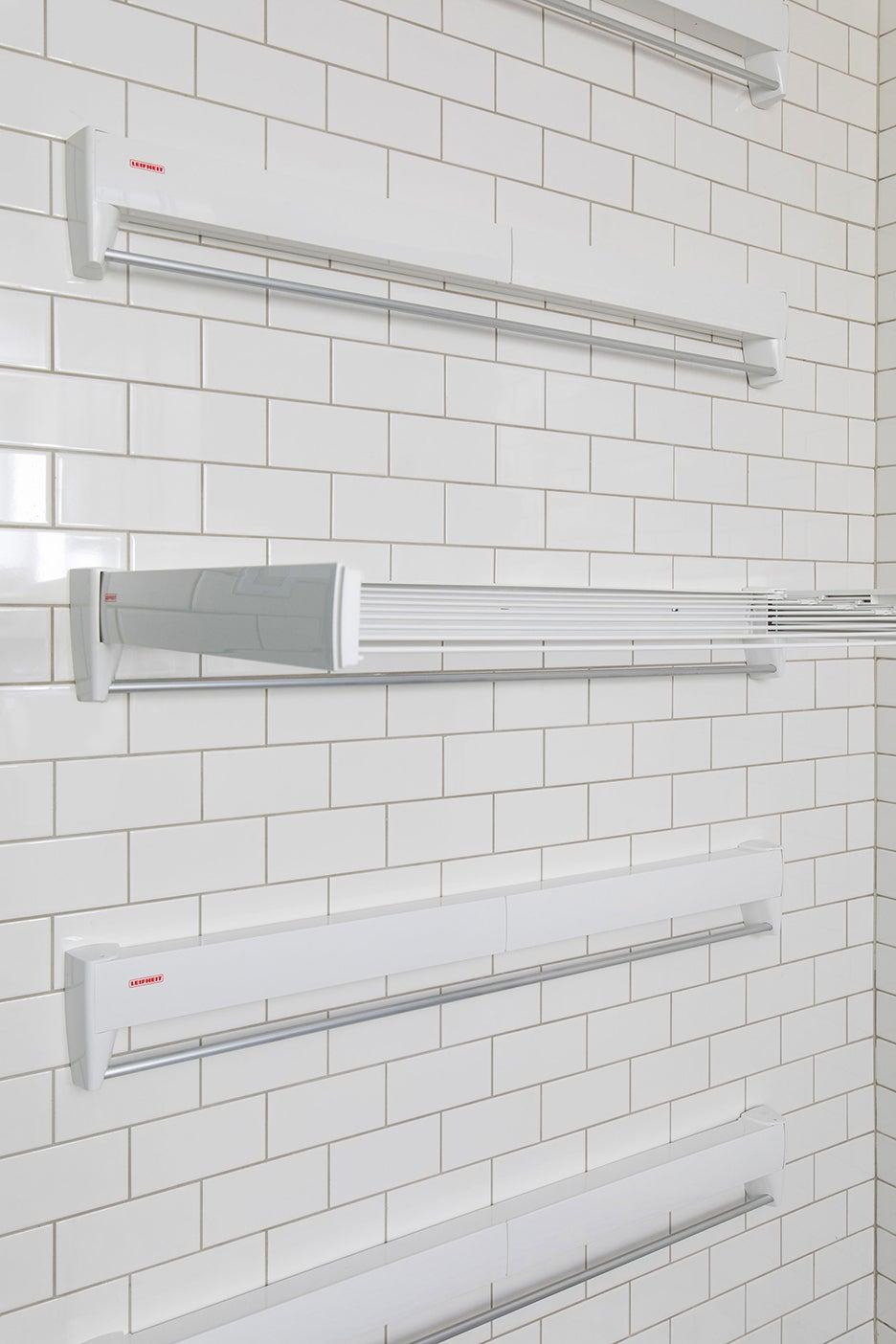 white mounted hanging racks