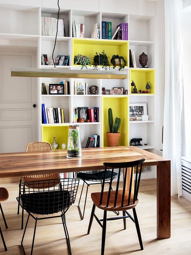 IKEA KALLAX Hacks bookcase with yellow shelves