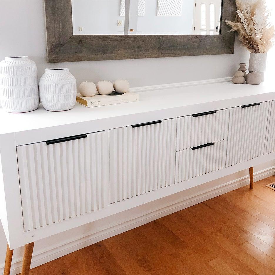 IKEA KALLAX Hacks white console with cabinet doors