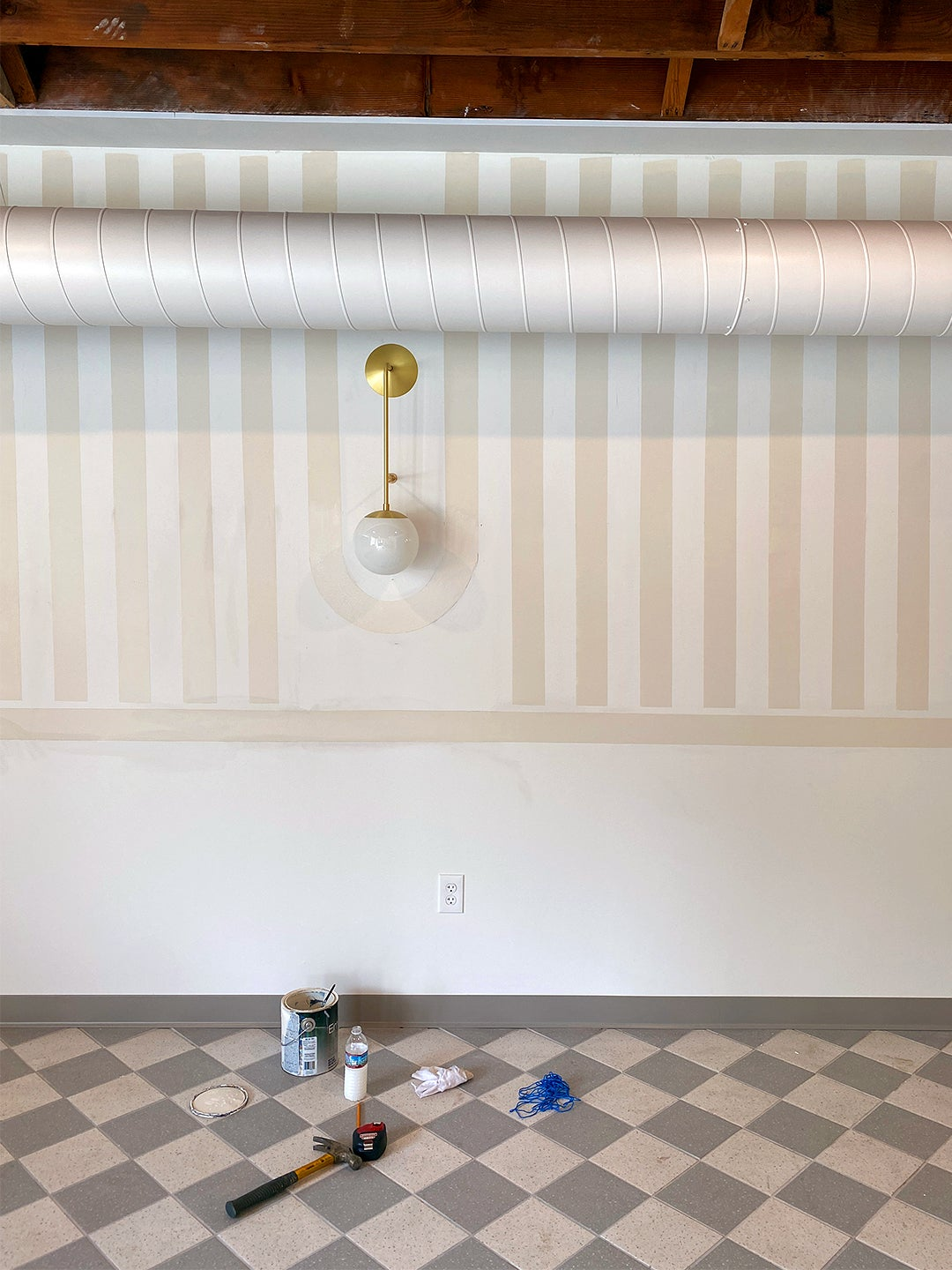 a painted wall in stripes