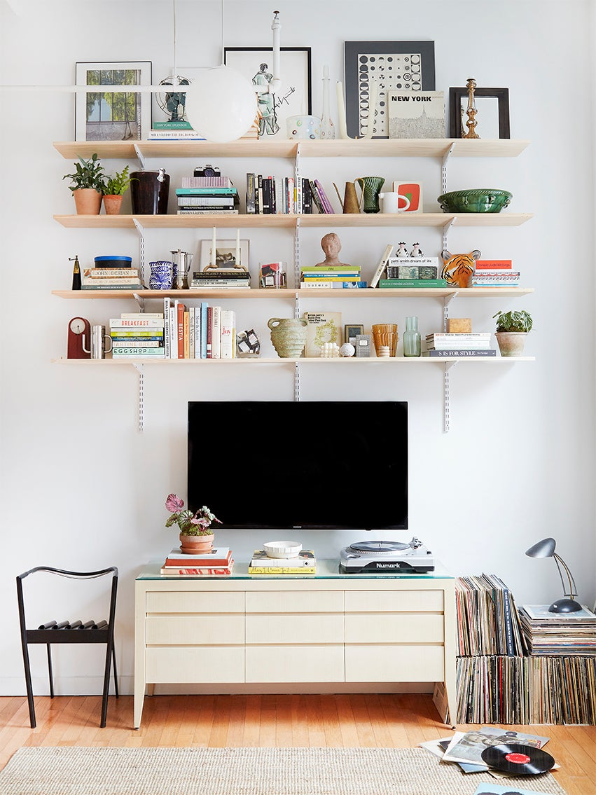 This $130 Shelving System Is the Focal Point of Our Style Editor's Living Room