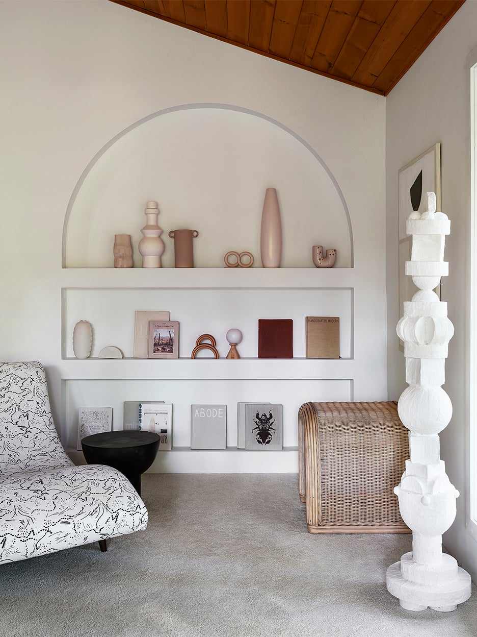 a wall of ceramics