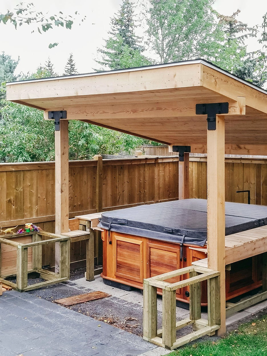 partially finished hot tub roof