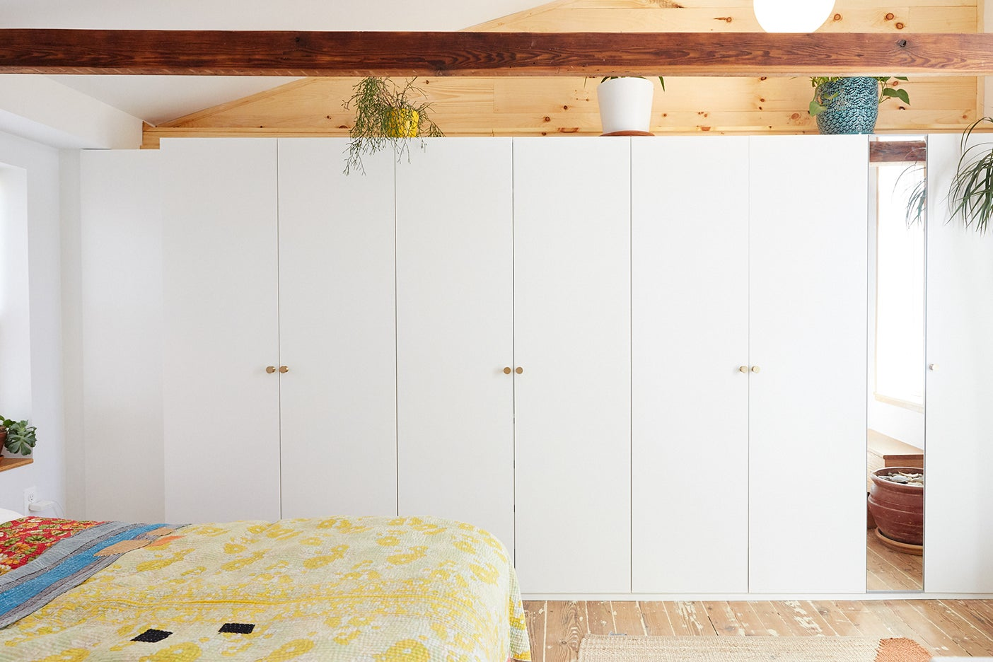 white closets in bedroom