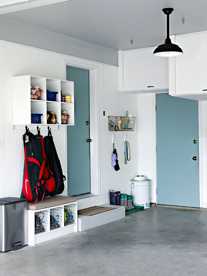 Organized garage with hooks and shelves