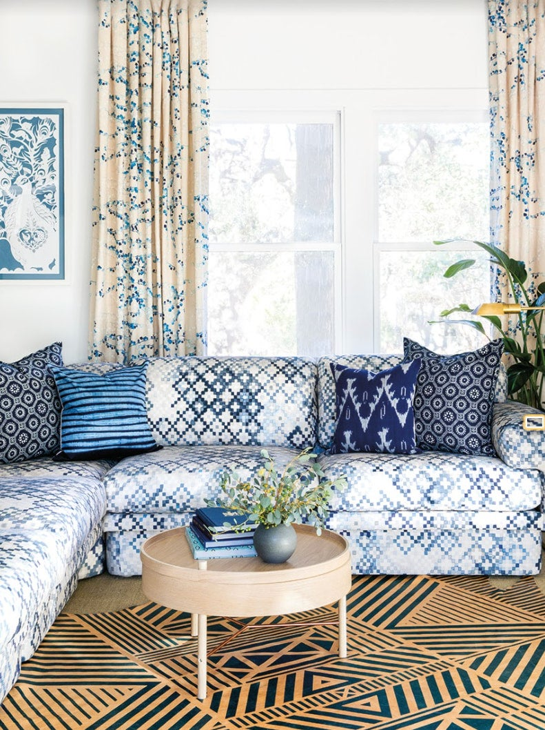 a patterned living room