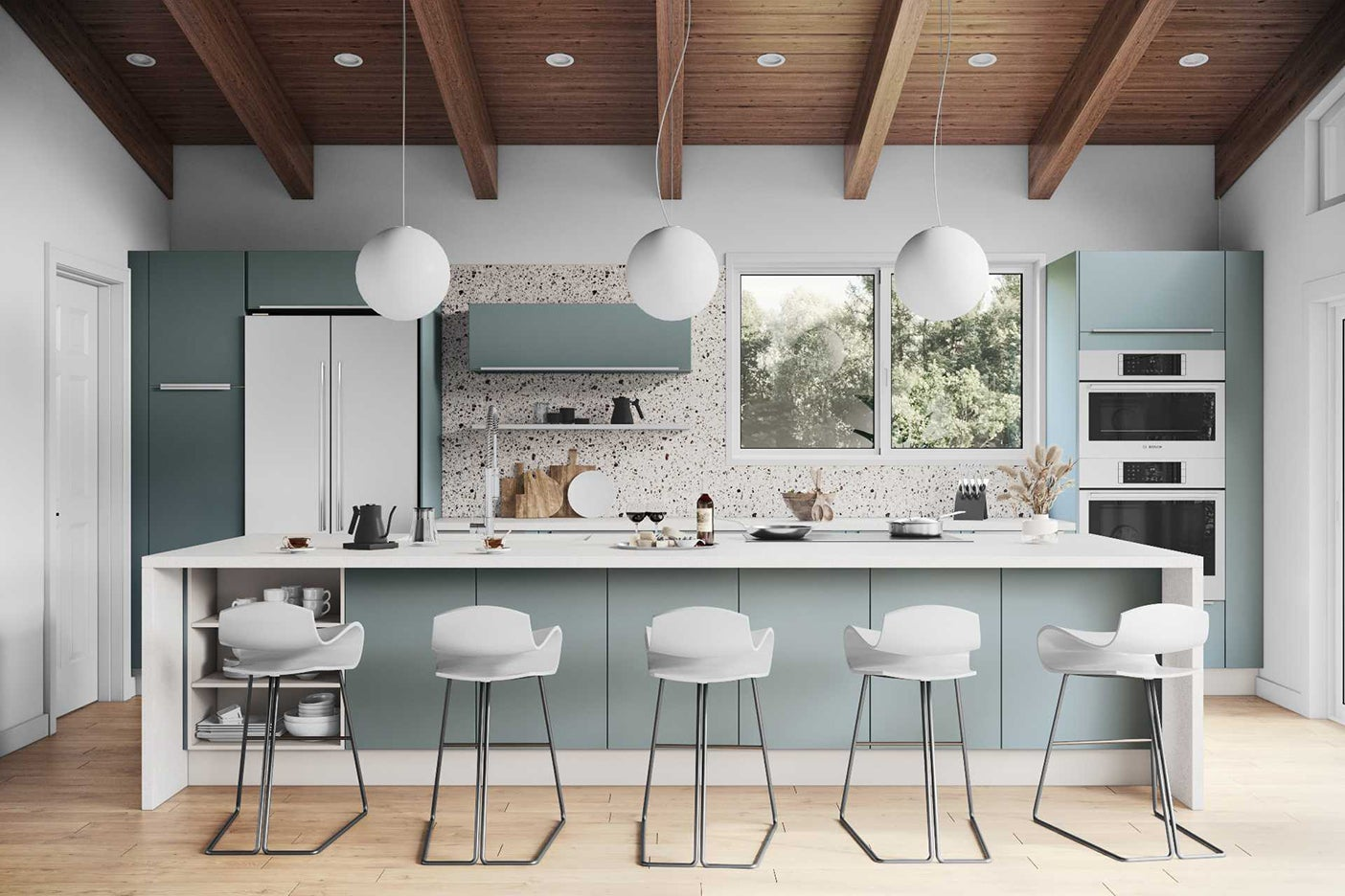 rendering of large blue kitchen