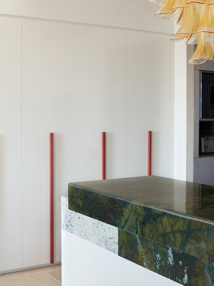 green marble counter