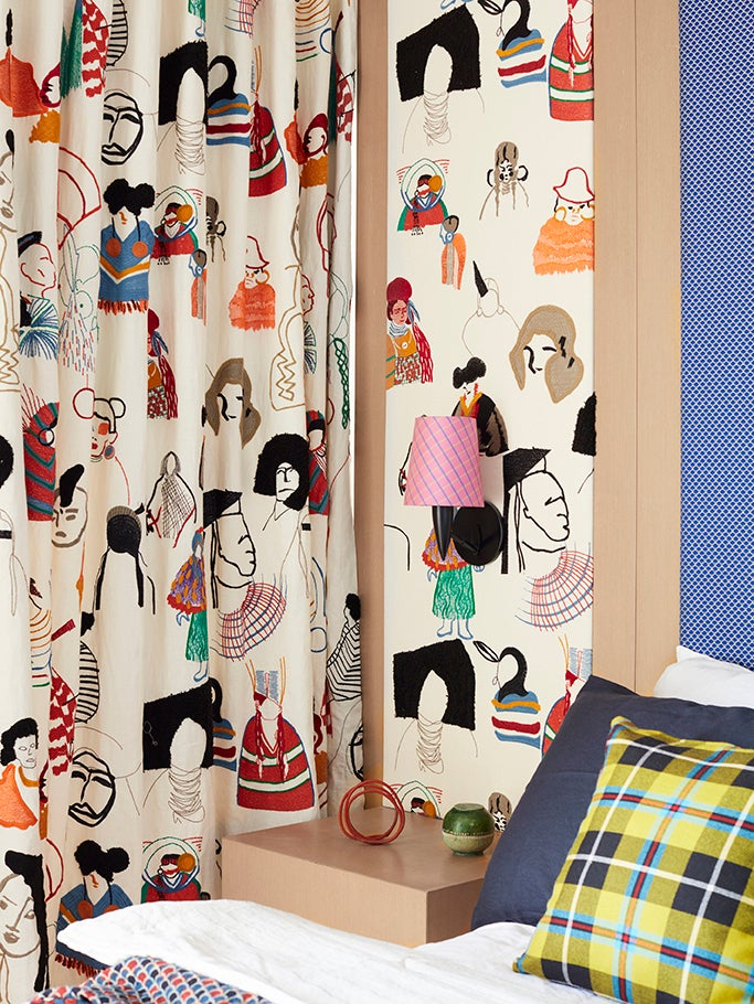 drapery fabric with faces