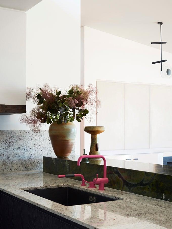 pink kitchen faucet