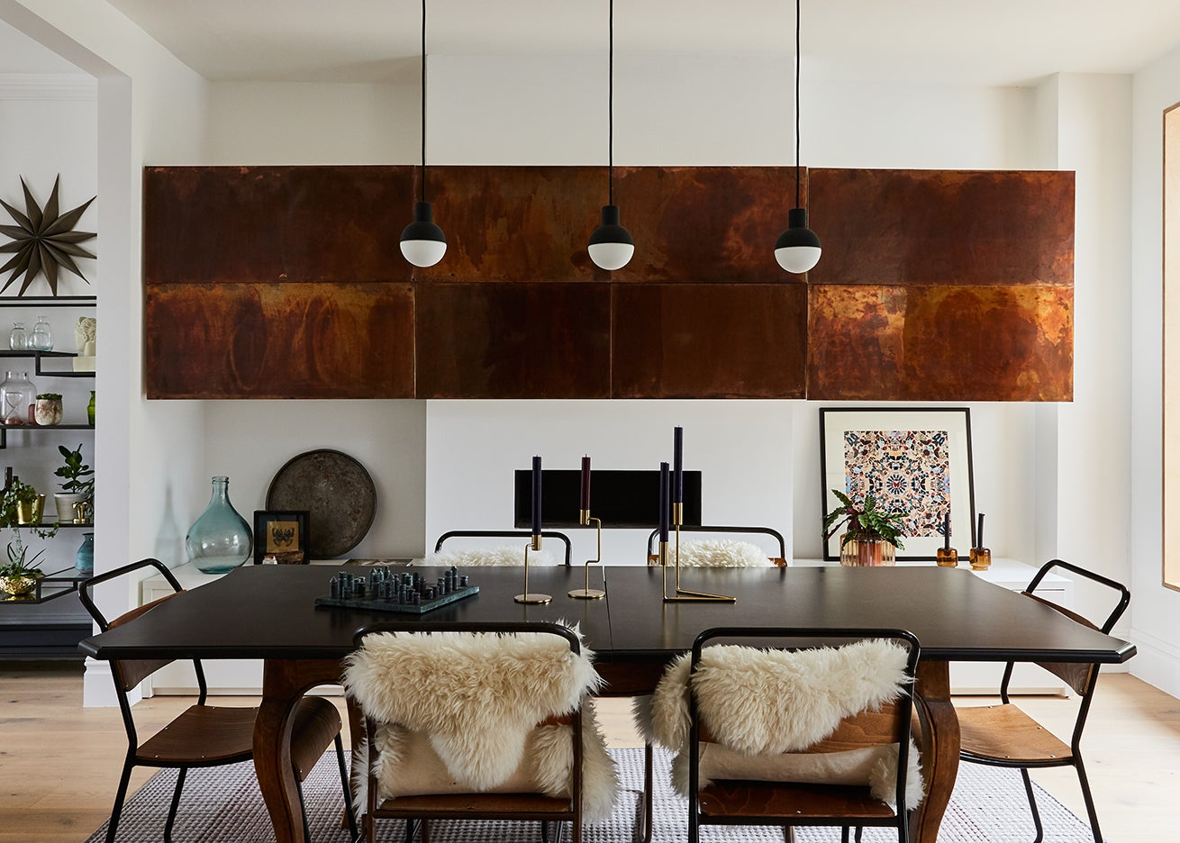 copper cabinets over fireplace