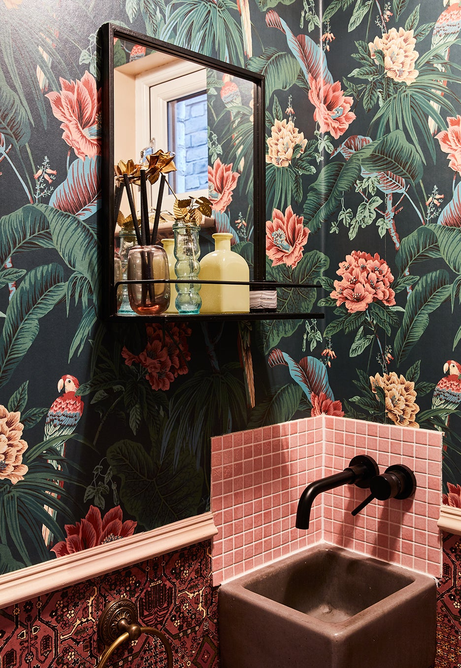 pink and green powder room