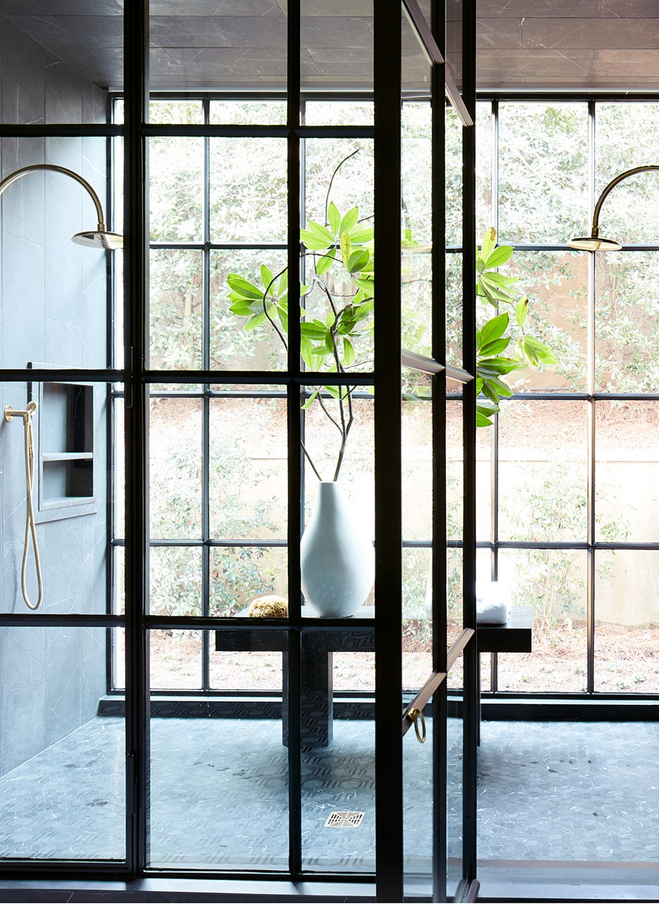 shower surrounded by glass walls