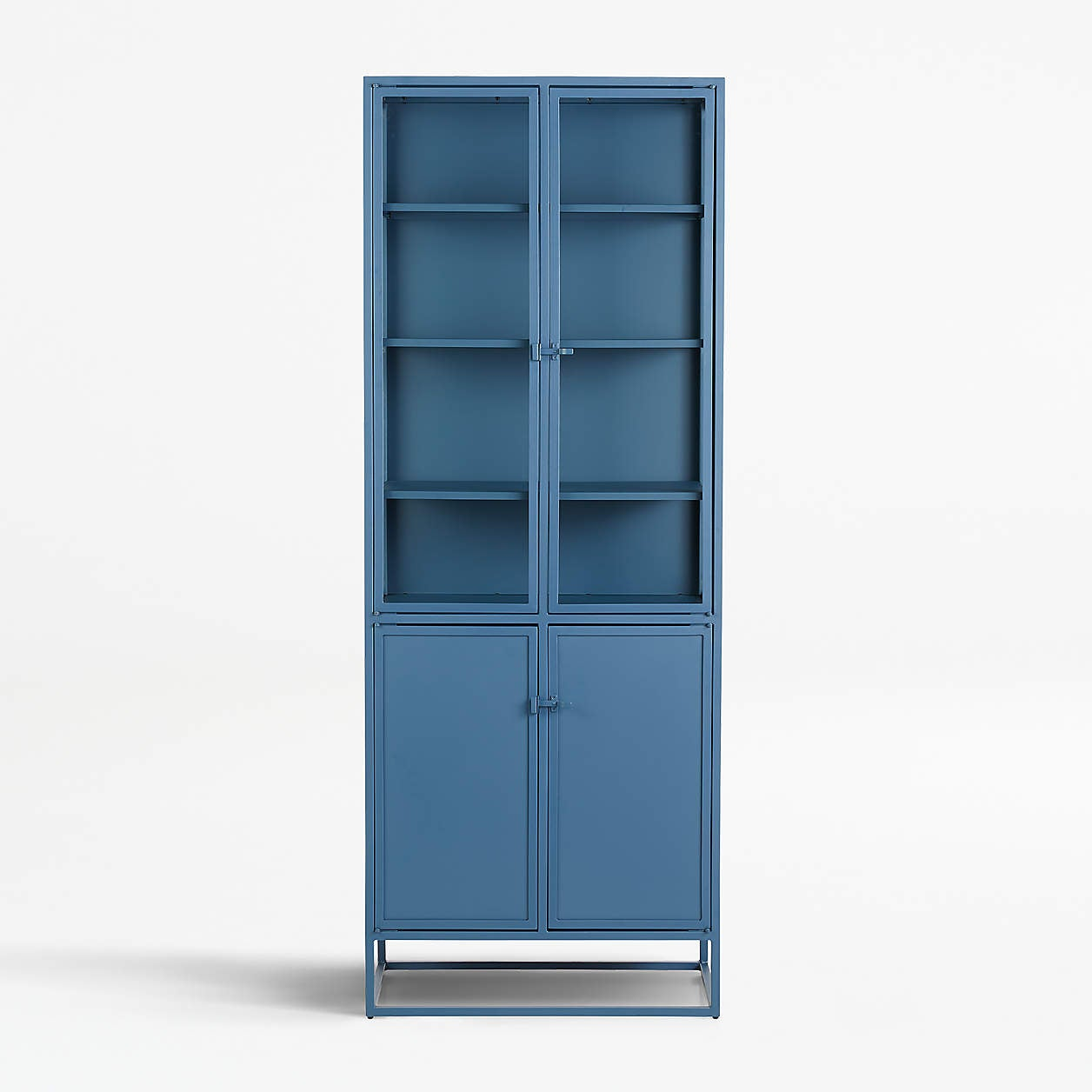a blue cabinet