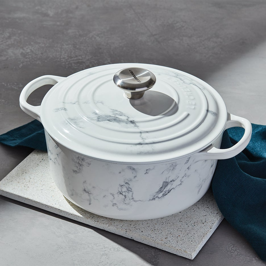 Le Creuset Dutch oven in marble finish
