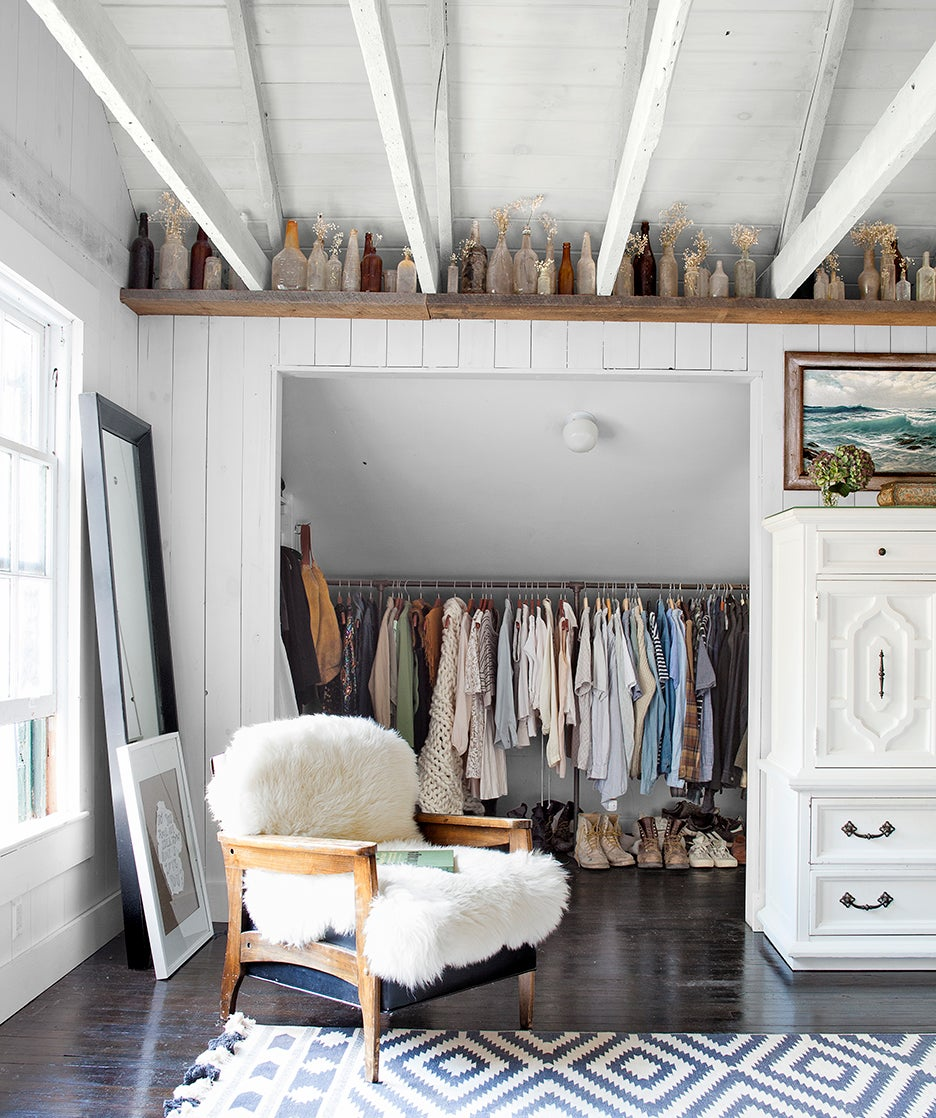 attic closet with books on top