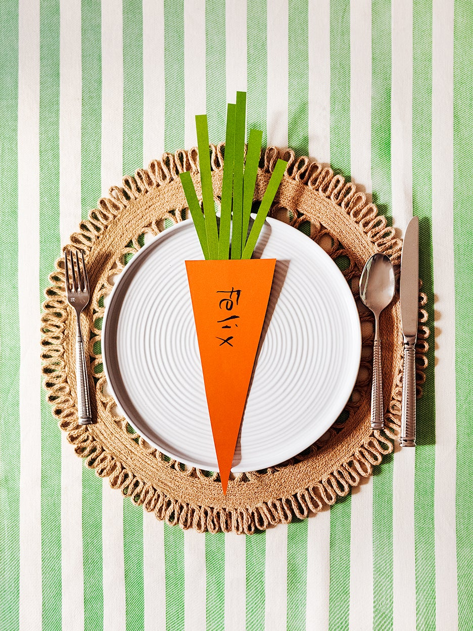 Gingham on Gingham, Paper Carrot Place Settings, and More Fun Ways to Set Your Easter Table