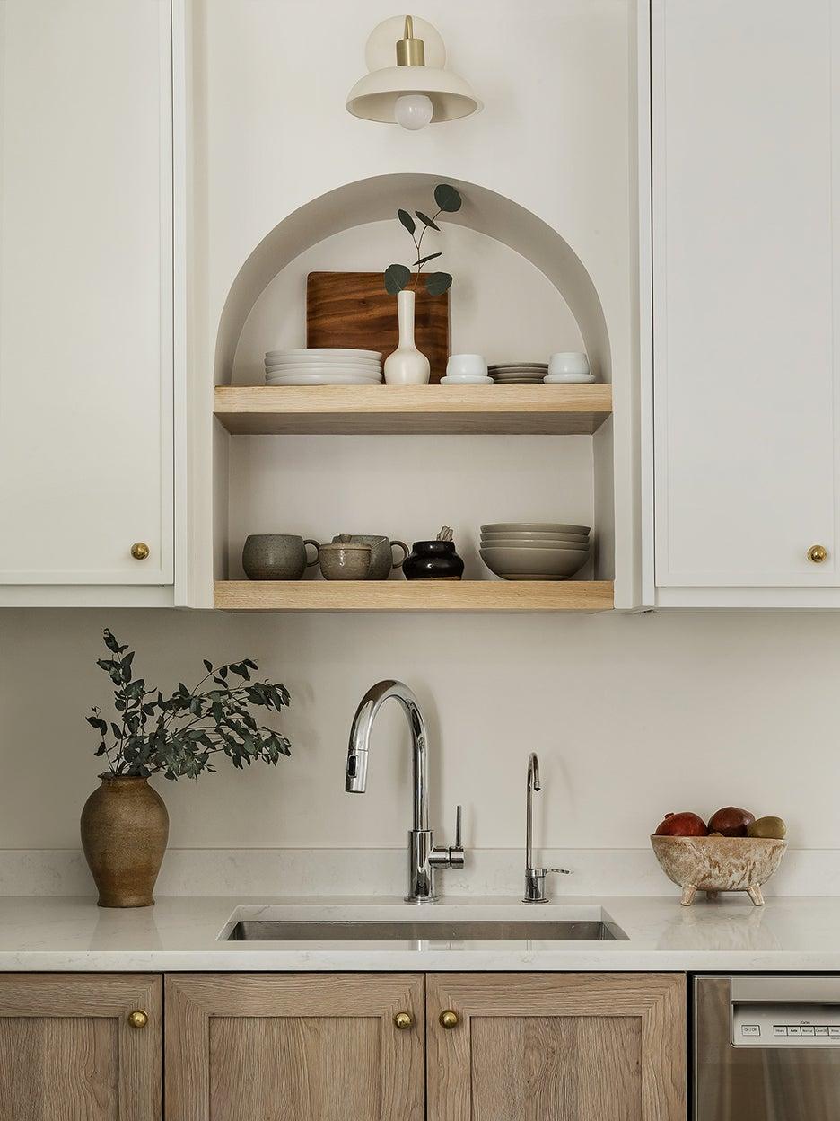 arched shelf over sink