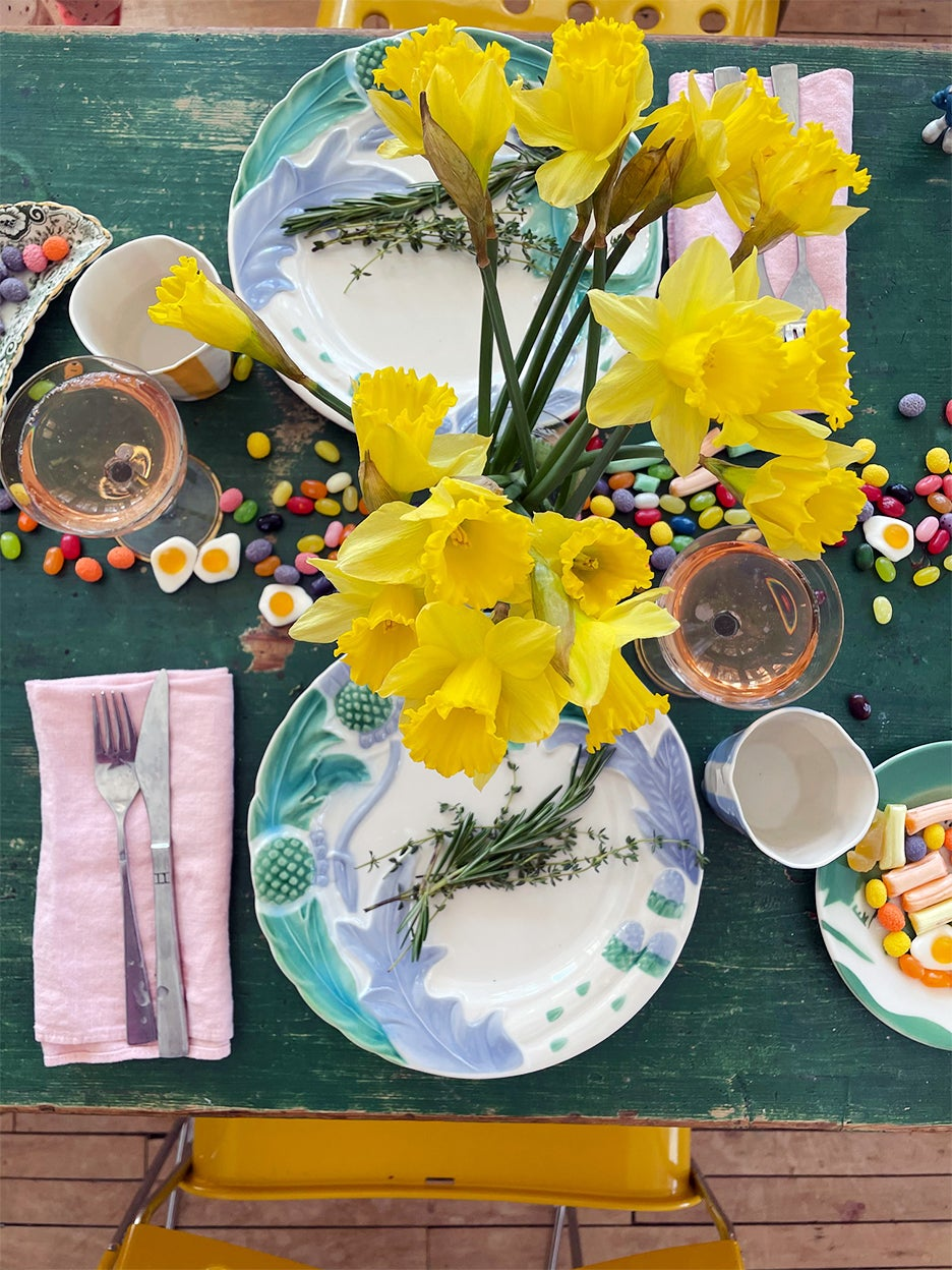 Easter table with candy as the centerpiece