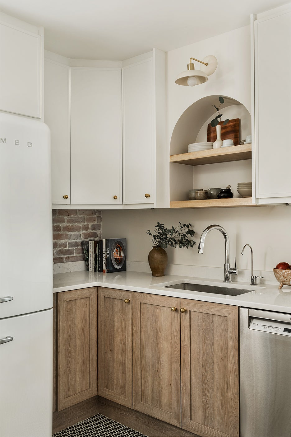 corner of white and wood kitchen
