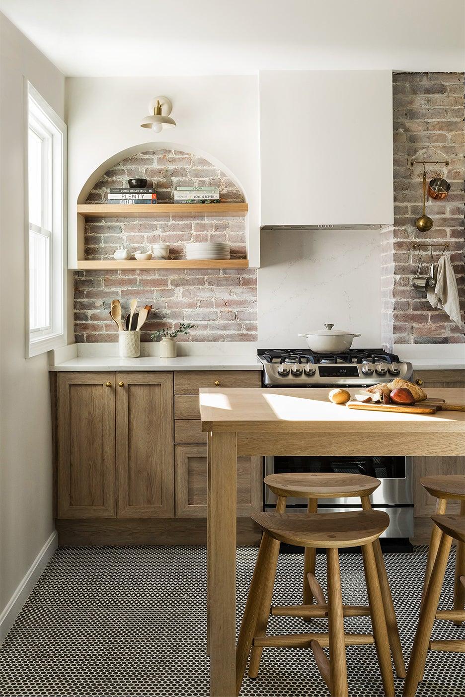 neutral kitchen with wood island