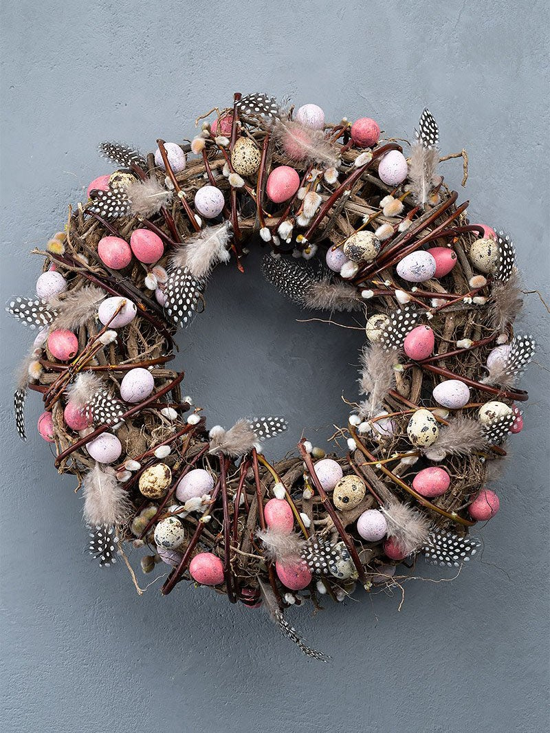 pink qual eggs on wreath