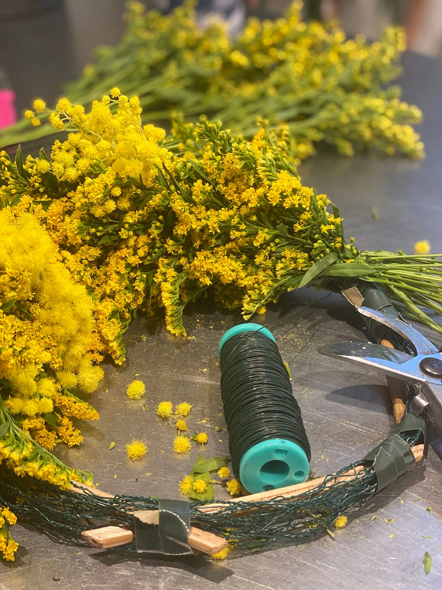 yellow wreath in the making