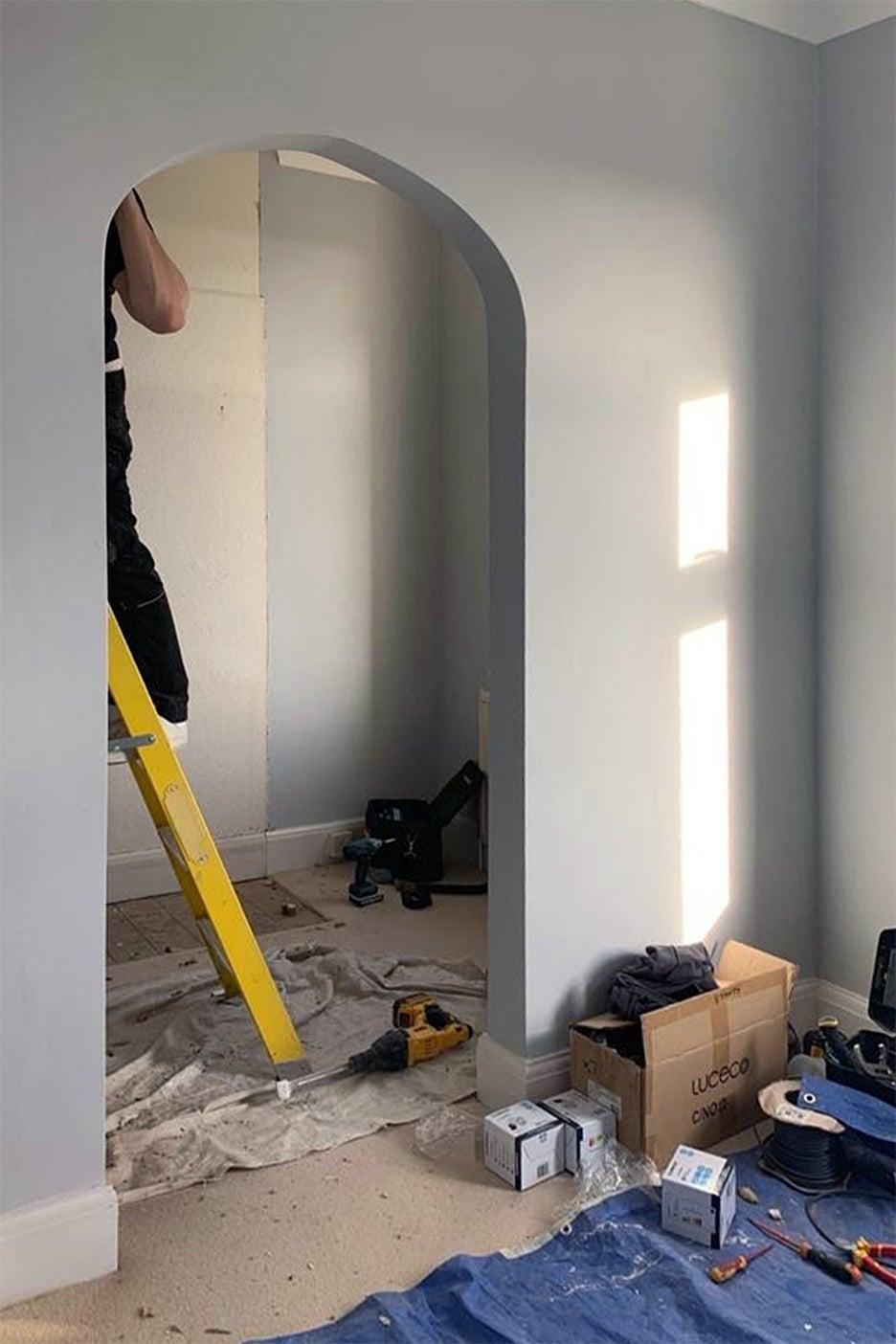 walk-in closet under construction